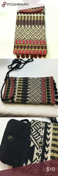 Boho phone/sunglasses case with shoulder strap Handmade woven case with snap closure and Pom pom detail across the bottom back has zipper pouch compartment Bags Clutches & Wristlets