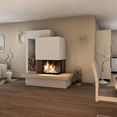 Spartherm Arte Kamineinsatz - Kaminbausatz room ideas with fireplace Dining Room Arm Chairs, Home Living Room, Interior, Fireplace Kits, Fireplace Design, House Interior, Interior Design, Fireplace, Home And Living