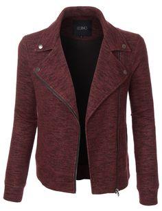 LE3NO Womens Fleece Marble Zip Up Moto Biker Jacket with Pockets