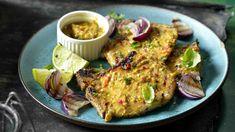 Grilované vepřové kotlety na hořčici | Recepty na Prima Fresh Salmon Burgers, Meat, Chicken, Ethnic Recipes, Cubs