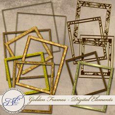 Gold Frames for digital scrapbooks