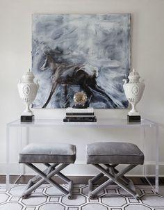Art, lucite console, stools