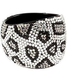 "Amazon.com: Leopard or Zebra Animal Print Crystal & Rhinestone Handmade Open Bangle 2"" Wide & Lightweight by Jersey Bling (Silver Leopard): Jewelry"