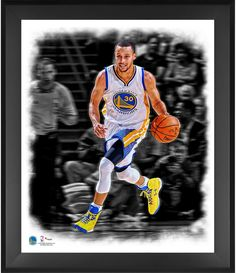 """Stephen Curry Golden State Warriors Framed 20"""" x 24"""" Dribbling In the Zone Photograph"""