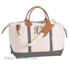 2ce6d3452647 Gray Weekender Bag - Gray Canvas Tote bag with monogram