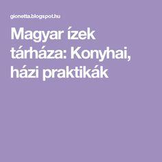 Magyar ízek tárháza:  Konyhai, házi praktikák