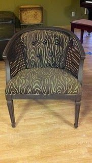Repainted and reupholstered cane chair