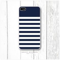 iPhone 4 and 4S case Navy Blue and White Stripes. $18.00, via Etsy.