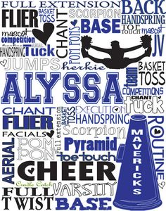 Cheerleading Personalized Typography Custom Girl by PrintChicks, $22.00
