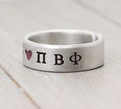 Pi Beta Phi Ring Sorority Ring  Pi Beta Phi by PureImpressions, $16.00 #Pi Beta Phi, #ΠΒΦ, #Sorority Jewelry