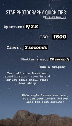 Star photography tips - Fotografie Photography Settings, Dslr Photography Tips, Photography Cheat Sheets, Star Photography, Photography Challenge, Photography Lessons, Photoshop Photography, Night Photography, Photography Tutorials