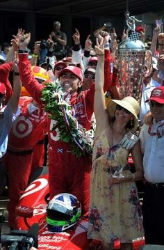 Target Chip Ganassi Racing's Dario Franchitti celebrates with his wife Ashley Judd,right, after winning the 96th Indianapolis 500 Sunday, May 27, 2012, afternoon at the Indianapolis Motor Speedway. Matt Kryger / The Star