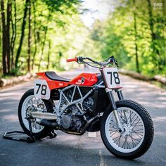 A simple wheel and suspension swap turned into a full-blown hooligan flat tracker conversion. This KTM 950 will be a handful on the Euro dirt track scene. Ktm 950 Supermoto, Ktm Super Duke, Ducati Cafe Racer, Bobber, Scrambler Motorcycle, Flat Tracker, Street Tracker, Cool Motorcycles, Dirtbikes