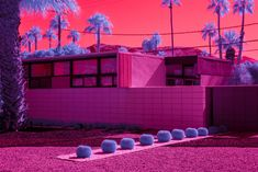 Infrared photograph of the exterior of Twin Palms Estate in Palm Springs with a trail of barrel cacti leading up to the main gate