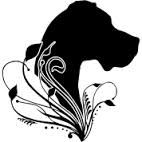 great dane silhouette head/flowers