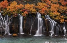 Visiting Iceland in the fall: Fossatún waterfall is said to be guarded by a troll. Autumn in Iceland