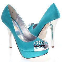 Women's #Fashion #Shoes: Encino Metallic Medallion Cap Toe Blue Stiletto High Heel Platform Pumps: Heels