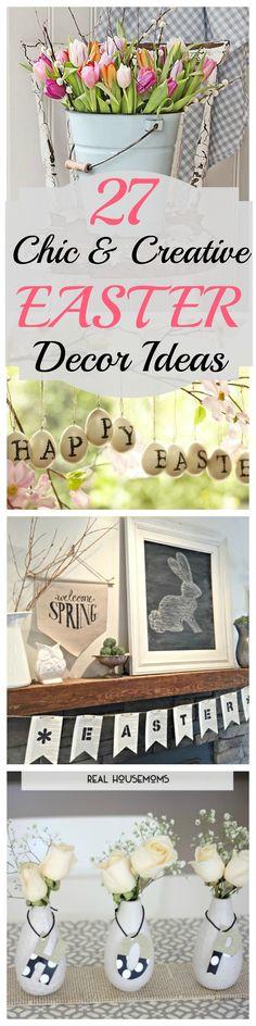 Chic Easter decor. Elegant Easter decor. Easter decor that's not cheesy. 27 Easter decor ideas. DIY decor.
