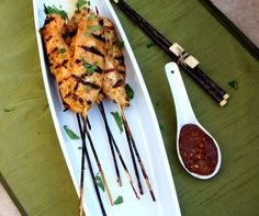 Thai Chicken Satay with a Spicy Peanut Dipping Sauce