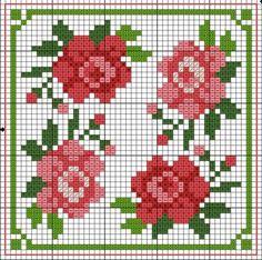 Czech cross stitch pattern - P Biscornu Cross Stitch, Mini Cross Stitch, Cross Stitch Borders, Cross Stitch Rose, Cross Stitch Flowers, Cross Stitch Charts, Cross Stitch Designs, Cross Stitching, Cross Stitch Embroidery