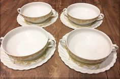 Haviland, Flat Cream Soup Bowl and Saucer Set of 4, Ladore by Haviland by LoveCareHandmade on Etsy https://www.etsy.com/listing/502506658/haviland-flat-cream-soup-bowl-and-saucer