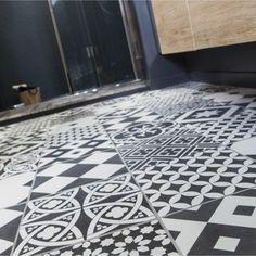 Carrelage sol et mur noir & blanc effet ciment Gatsby l.20 x L.20 cm