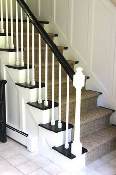 Interior, : Simple And Neat Picture Staircase Design Using Natural Staircase Runner Along With White Wood Staircase Spindles And Black Wood Staircase Handrail Staircase Spindles, Wood Handrail, Staircase Runner, Staircase Design, Stair Runners, Railings, Staircase Ideas, Hallway Ideas, Stair Railing