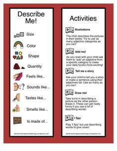 Adjectives: Develop your Description- Great way to help children use adjectives. From Adventures in Speech Pathology. Pinned by  SOS Inc. Resources.  Follow all our boards at http://pinterest.com/sostherapy  for therapy   resources.