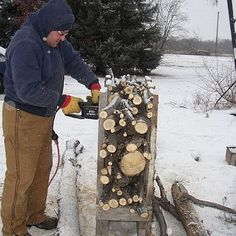Using the firewood frame to quickly cut a batch of firewood.