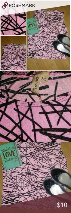 🌸Pink/Black Scribble Top🌸 Sz P XL Perfect for work scribble top. Pretty in pink and black. No stains or snags. Very stretchy.  Size Petite XL By Susan Lawrence Petite Susan Lawrence Tops