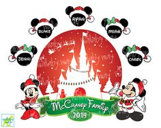 Christmas Disney Family Printable Iron On Transfer or Use as Clip Art - DIY Disney Family Matching Shirts for Disney Vacation - Personalized