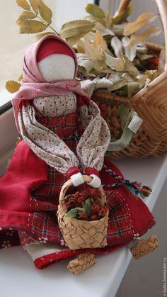 """Купить Традиционные народные куклы. Композиция """"Архангельская парочка"""" - бордовый, народная традиция, народные куклы"""