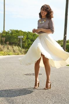I love this look.  There is something about a flowy skirt that I adore.