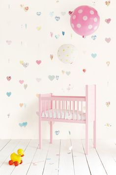 Eijffinger Tout Petit 354162 Lots of Love at Wallpaperwebstore Baby Girl Bedding, Baby Boy Rooms, Nursery Curtains, Nursery Room, Girl Room, Girls Bedroom, Room Wallpaper, Decoration, Toddler Bed