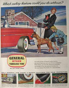 1955 Vintage General Nygen Tubeless Tire Ad ~ Boxer Dog