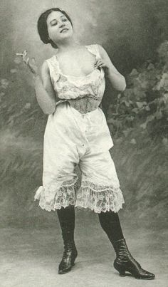 Love this!  Woman smoking, Knickers, Victorian, Vintage, Edwardian.