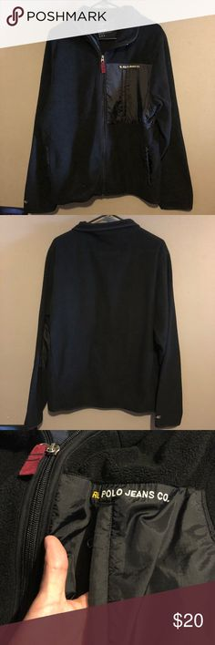 Men's RL Polo Jeans Co size large Men's RL polo jeans co sweater, size large, color is black, gently used in good condition, please reference pictures and feel free to ask questions Polo by Ralph Lauren Sweaters Zip Up