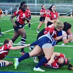 When it takes three to try and stop you!  #RugbyFaces  By @kim_delacruz @leighanneg24