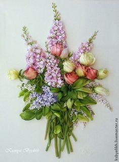 Когда зацветают левкои, левкои - цветы королев.... Вышивка шелковыми лентами, тонированными и окрашенными…