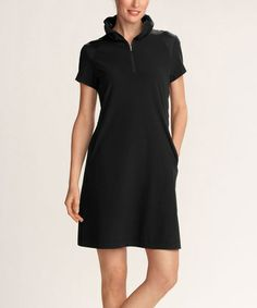 Another great find on #zulily! Black DryTec Isa Short-Sleeve Polo Dress by Annika by Cutter & Buck #zulilyfinds