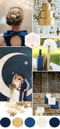 Navy blue and gold weddings http://dazzlemeelegant.com/