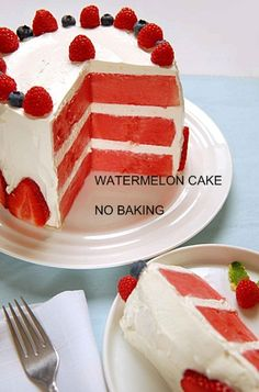 How To Make A No Bake Watermelon Cake In Pictures Cakes And Berries