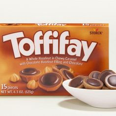 There's a lot to love in Toffifay: A chewy caramel cup filled with a crunchy hazelnut, smooth chocolaty filling, and a drop of rich chocolate on top. It's a combination that's truly satisfying. Chocolate Brands, Chocolate Shop, Chocolate Caramels, Chocolate Hazelnut, Chocolate Covered, Best Candy, Favorite Candy, Old School Candy, Toffee Candy