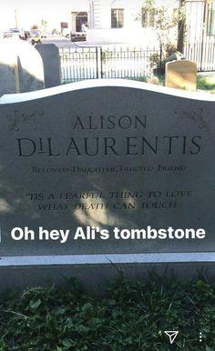 Pretty Little Liars Alison's tombstone via @marleneking instagram story
