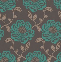 Fiori Teal (W0012/06) - Clarke & Clarke Wallpapers - A beautiful large floral trail in a stylized effect. Showing in turquoise blue and brown with metallic highlights. Other colour ways available. Please request a sample for true colour match. Paste-the-wall product.