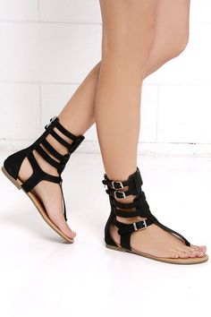 6211b17d3 Make plans to wander and explore in your new Roman Holiday Black Gladiator  Sandals! These