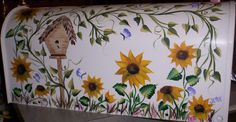 Hand Painted Sunfower Mailbox With Weather And by ITIZWHATITIZ, $95.00