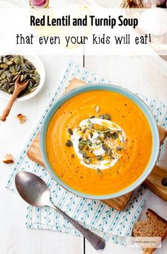 Turnip and red lentil soup. An easy lunch idea for kids.