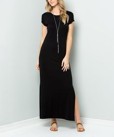 Acting Pro Black Side-Slit Fitted Maxi Dress - Women & Plus Short Noir, Side Slit Maxi Dress, Black Side, Elegant Dresses, Short Sleeve Dresses, Maxi Dresses, Cold Shoulder Dress, Clothes For Women, Casual
