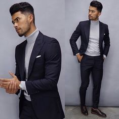 Royal Fashionsit is the best Men's Fashion Guide. Here you will find the latest trends on men's style. Get inspired with these outfits and leave your comment below. Blazer Outfits Men, Stylish Mens Outfits, Best Mens Fashion, Mens Fashion Suits, Turtleneck Suit, Turtleneck Fashion, Teaching Mens Fashion, Mode Man, Formal Men Outfit
